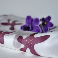 hedvábný šál Purpurové květy od Majanka / silk scarf Purple Flowers from Majanka