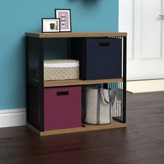 Pro Tip: Add fabric bins to your entryway storage as a convenient dropzone for junk mail and other small items. #Dropzone #Entryway #HomeOrganization Junk Mail, Drop Zone, Entryway Storage, Fabric Bins, Mudroom, Home Organization, Furniture, Table, Design