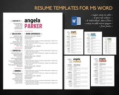 Get this popular modern resume templates for MS Word. They are very easy to edit with MS Word program. They come with 6 pre-set different colors. The color however is very easy to change.