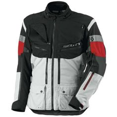 Scott All Terrain Pro DP Motorcycle Textile Jacket Grey Red Best Insulation, Gray Jacket, Motorcycle Jacket, Textiles, Grey, Sleeves, Jackets, Enabling, Shell