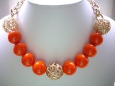 SALE Chunky Vintage Acrylic Orange and Gold by DesignsbyPattiLynn, $45.00