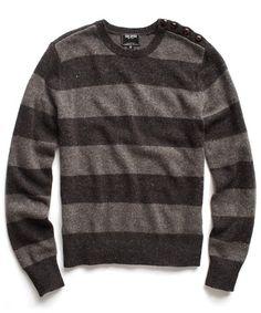 Charcoal Naval Stripe Crew Sweater