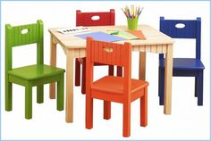Wood Kids Tables And Chairs And Colored Pencils For Small Kids Tables And Chairs