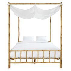 Himmelbett aus Bambus und weißem Stoff L.170cm
