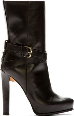 Dsquared2 Black Leather High Heel Vitello Boot $975 Fall 2014 #Shoes #Heels #Boots