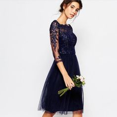 Chi Chi London Bardot Neck Midi Dress Chi Chi London Lace with Tulle Bottom Midi Dress Navy Blue.. This Dress Is GORGEOUS!! Got this item from Asos sold out on site.. **Navy Blue** This Item is NEW WITHOUT TAGS!! ASOS Dresses Midi