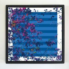 "Overflow series: ""Pink Flowers"" 24 x 24 inch, digital art & gloss and matte gel on stretched canvas. 26.5 x 26.5 inch, float frame - black flat. ---------------------------------------- #popart #popartist #digitalart #contemporaryart #colorfield #abstractart #gloss #matte #art #canvas #jonsavagegallery"