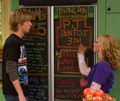 """Instant Chalkboard Refrigerator Cover (Just Like """"Good Luck Charlie!"""")  Wanna do this to my fridge"""