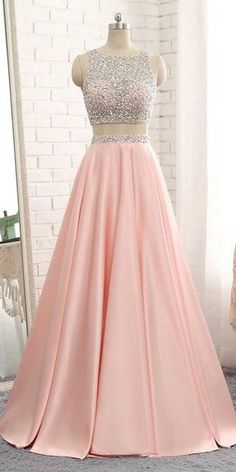 Sparkly Beaded 2 Pieces Prom Dress 2019 Custom Made Satin Beadings Long Pink School Dance Dresses Fahion Two Pieces Evening Party Dresses Source by ealdwell dresses party Prom Dresses Two Piece, Cute Prom Dresses, Backless Prom Dresses, Pretty Dresses, Homecoming Dresses, Beautiful Dresses, Formal Dresses, Dress Piece, Elegant Dresses