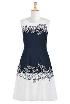 Contrast Floral Embroidery Poplin Dress Style #CL0035365