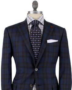 Isaia | Blue with Brown Plaid Sportcoat | Apparel | Men's