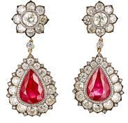 Munnu Women's White Diamond Ruby Earrings, Ruby Jewelry, White Earrings, Diamond Earrings, Fine Jewelry, Women Jewelry, Jewellery, Pendant Necklace, Crystal Drop