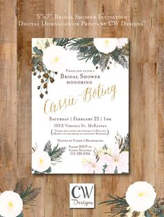Antique Floral Bridal Shower or Wedding Invitation by cwdesigns2010 on Etsy