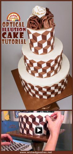 Video tutorial with info and instructions on how to decorate a wedding cake with an optical illusion pattern using white and dark modeling chocolate by Wicked Goodies Cake Decorating Courses, Creative Cake Decorating, Wilton Cake Decorating, Cake Decorating Techniques, Creative Cakes, Cake Icing, Fondant Cakes, Cupcake Cakes, Fondant Bow