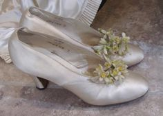 These from the are loaded with wax blossoms. Ballet Shoes, Dance Shoes, Shades Of White, Old And New, Wedding Shoes, Marie, Wedding Flowers, Kitten Heels, Wax
