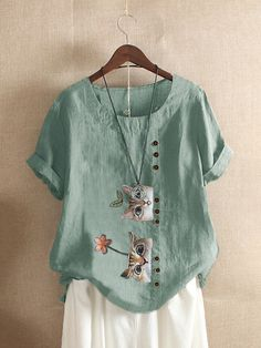 Painted Clothes, Cute Shorts, Casual T Shirts, Tshirts Online, Chic Outfits, Green Cotton, T Shirts For Women, Tunic Tops, Sleeves