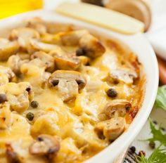 Auflauf mit Pilzen, Kartoffeln und Käse überbacken Tags: