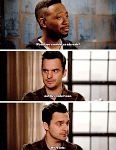 Winston: 'Cause they're adorable. Would you consider us adorable? Nick: No, we're adult men. We're cute. (New Girl)