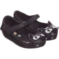Mini Melissa Black Glitter Cat Jelly Shoes (£42) ❤ liked on Polyvore