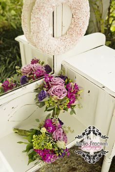 Purple and white fall bridal and bridesmaids bouquets with sterling roses and hydrangeas on antique white vanity.  Classic Fall Wedding.  Photography:  Andie Freeman Photography www.TheAthensNewbornPhotographer.com  Coordinating:  Wild Flower Event Services Venue:  The Thompson  House and Gardens, Bogart, GA Floral:  Flowers by On
