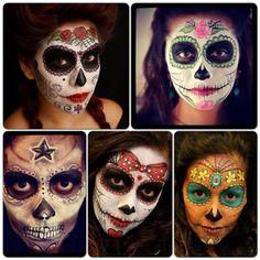 Different sugar skulls Sugar Scull, Sugar Skull Art, Halloween Looks, Halloween Face Makeup, Halloween Stuff, Skull Sketch, Dead Makeup, Sugar Skull Makeup, Zombie Makeup