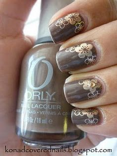 Orly Prince Charming stamped with flowers from konad plate m31 and China Glaze 2030