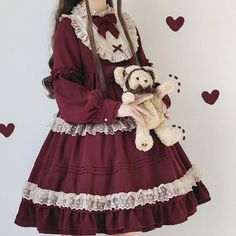 Lolita Dress with Bowknot,Ruffle Collar Gothic Dress,Puff Sleeve Lace Dress,Costume Dress Gothic Dress, Lolita Dress, Kawaii Fashion, Lolita Fashion, Vintage Tea Party Dresses, Lolita Mode, Lace Dress With Sleeves, Short Sleeves, Kawaii Clothes