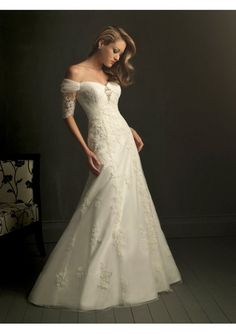[$197.89] Gorgeous Off-the-shoulder Short-Sleeve A-Line Embroidery Floor-Length Wedding Dress WD-11036