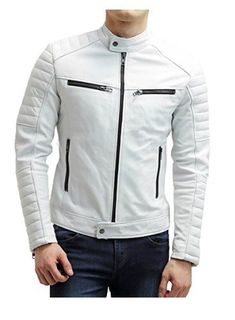 Season Jackets - Man White biker jacket, Mens leather jacket, White Leather jackets for men - Outerwear Being the garment of the season has many good things, but also requires some chameleonic ability to not saturate when it has just started. White Leather Jacket Mens, Mens Leather Shirt, Cafe Racer Leather Jacket, Leather Jacket Outfits, Lambskin Leather Jacket, Leather Men, Leather Jackets, Custom Leather, Real Leather