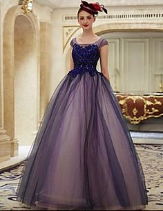 2017+Formal+Evening+Dress+Ball+Gown+Scoop+Floor-length+Lace+/+Tulle+with+Appliques+–+GBP+£+184.50