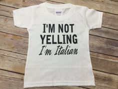 I'm not yelling I'm Italian Novelty funny cute trendy personalized custom onesie Baby shower ideas present gift unisex neutral boy girl newborn baby infant toddler kids youth children child brother sister mommy daddy grandma aunt uncle godmother Italy I talk with my hands  Custom made to order baby one piece or Shirt . Made with your choice of text colors & wording. Please select size when purchasing.  If no