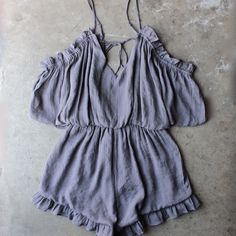 crinkled peek a boo shoulder romper with ruffle hem in ash - shophearts - 1