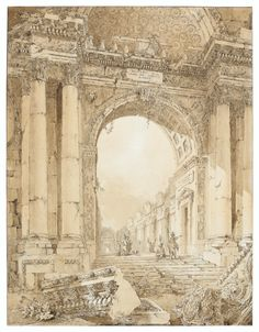 LOUIS-FRANCOIS CASSAS (Azay-Le-Ferron 1756-1827 Versailles), Figures visiting the ruins of an imaginary antique building | Christie's Monumental Architecture, Vintage Drawing, His Travel, Old Paper, French Artists, Versailles, Italy Travel, Barcelona Cathedral, Brown And Grey