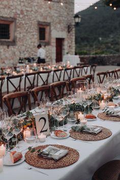 Rustic wedding table setup at Mallorca wedding venue Son Berga Wedding Table Setup, Barn Wedding Decorations, Wedding Set Up, Wedding Mood Board, Wedding Table Settings, Italy Wedding, Wedding Meals, Rustic Italian Wedding, Italian Wedding Venues