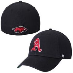 0c38bc028f15d Arkansas Razorbacks  47 Brand Black NCAA Franchise Fitted Hat Arkansas  Razorbacks Football