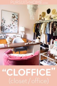 "How to take a spare bedroom and turn it into a boutique style walk-in closet and home office aka ""the cloffice"" - My Home Decor Bedroom Turned Closet, Spare Room Closet, Spare Bedroom Closets, Spare Room Office, Home Office Closet, Home Office Decor, Home Decor Bedroom, Wardrobe Closet, Spare Bedroom Dressing Room Ideas"