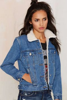 It's What's on the Inside Shearling Denim Jacket - Clothes | Jackets