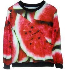 Woman autumn watermelons print sweatshirt #fashiondrop #fashion #cool #steetstyle, #style #sweater