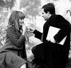 Francoise Dorleac and Francois Truffaut on the set of La Peau Douce in 1964