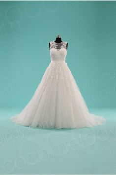 Queenly Ball Gown Illusion Natural Court Train Tulle White Sleeveless Key Hole Wedding Dress with Ribbons LWXT1408E #weddingdress #cocomelody
