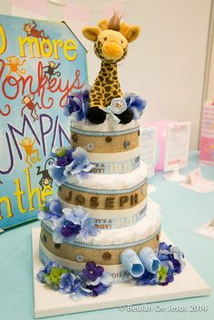 Diaper cake at an angels, pink, blue Baby Shower!  See more party ideas at CatchMyParty.com!