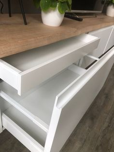 drawers for TV unit unit decor Ikea I cooked up a perfect wall mounted TV cabinet - IKEA Hackers Tv Cabinet Ikea, Ikea Cupboards, Tv Cabinets, Ikea Hack Bookcase, Ikea Hack Storage, Tv Storage, Record Storage, Tv Cabinet Design, Tv Unit Design