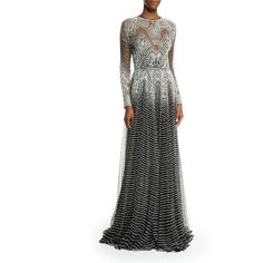 Naeem Khan Metallic-Wave Illusion Gown ($12,470) ❤ liked on Polyvore featuring dresses, gowns, silver black, naeem khan dresses, metallic gown, keyhole dress, long sleeve gown and floor length gown