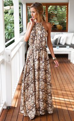 Halter Sleeveless Print Casual Long Maxi Chiffon Dress $39.99