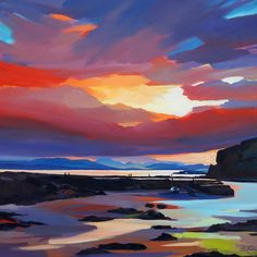 "Island Sundown 40""x40 Pam Carter"