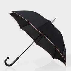 Paul Smith Men's Umbrellas   Black Signature Stripe Trim Walker Umbrella