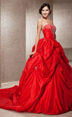 When you want to be the 'Lady in Red' Ball Gown Strapless Sleeveless Taffeta Satin Chapel Train Red Wedding Dress