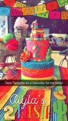 Cinco de Mayo Party Food Ideas Taco Twosday for Aiyla nd birthday 2nd Birthday Party For Girl, Mexican Birthday Parties, Second Birthday Ideas, Mexican Party, 21st Party, Twin Birthday, Frozen Birthday, Fiesta Theme Party, Fiesta Cake