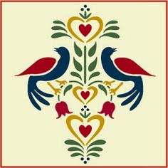 Folk Art Birds 2 Stencil Fraktur The Artful Stencil | eBay