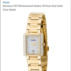 Diamond watch Authentic Pulsar Dress watch, Mother of Pearl face, Quartz movement, Polished gold-tone hands and markers, Analog date display, Polished gold-tone stainless steel rectangular case encrusted with 16 diamonds and crown, Polished silver-tone stainless steel caseback, Mineral crystal, 30 meters/100 feet water resistant. No marks on face, does have mark on clasp (see last pic). Comes with extra links and original packaging. Pulsar Accessories Watches